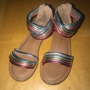 👧🏼 Nina Multicolored Metallic Rainbow Sandals